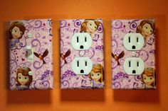 Sofia the First 3 piece Light Switch Plate and Socket Cover set girls boys childs room home decor bedroom blue Disney Jr Sophia princess…