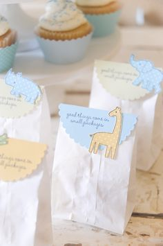 Baby Shower party favors.  DIY with A Muse Studio cardstock, stamps and white paper bags.   Follow amusestudio for more DIY party ideas! #amusestudio #partyideas #diyparty