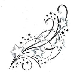 Shooting Star Tattoo | Only instead of stars put hearts (6) of them and instead of little stars little paw prints   And maybe in the hearts put dogs first letter of name in center of heart