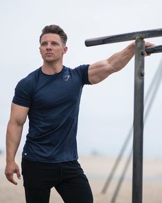 At the top of your game. Steve Cook rocking the Apex T-Shirt in sapphire blue. Photography Poses For Men, Fitness Photography, Gym Wear, Muscle Men, Male Body, Mens Fitness, Fitness Fashion, Beautiful Men, Sexy Men
