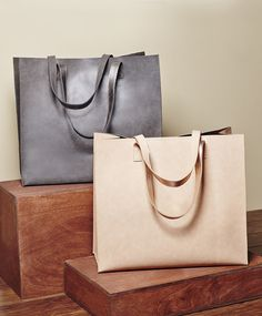 Two-toned metallic shopper totes