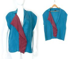 Vintage 80s Avant Garde Silk Blouse - Extra Large - Drapey Asymmetrical Soft Blue and Red Brushed Silk Plus Size Top - New Wave Shirt