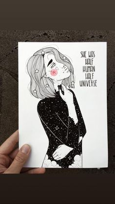 """Inktober ⭐️ """"she was half human, half universe"""" ⭐️ i am uploading that today a bit earlier. but yeah. i think tomorrow will be a bit busy Art Journal Inspiration, Art Inspo, Line Art, Art Sketches, Art Drawings, Dibujos Cute, My Sun And Stars, Art Graphique, Painting & Drawing"""