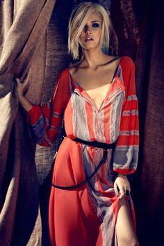 deep v-neck gauzy striped boho dress ~ bcbg.
