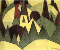 arthur dove paintings | ... Symbolized 3 Steeple And Trees - Arthur Dove Paintings Wallpaper Image