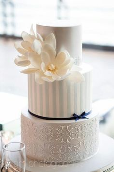 Such a perfectly-made cake!  I love the flowers, stripes, & piping.