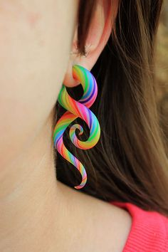 These Rainbow Tentacle Earrings Make a Bold Statement #tiedie #springfashion trendhunter.com
