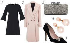 A black dress is always a good idea, and this one has a velvet lining on the neck and arms that makes it perfect for winter events. A structured coat adds another layer of elegance, and its baby pink color is an easy way to bright up the black dress and heels (and presumably, tights). Finish it off with sparkly accessories and pearl earrings for an easy wedding outfit win.�1. Issa Sophie Compact-Jersey Dress, $425,�available at Matches Fashion