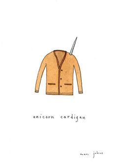 unicorn cardigan - original drawing by Marc Johns