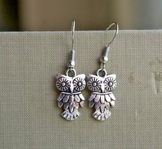 Little Owl Ea - rrings Dangle Charm Antique Tibetan Silver by cchmade, my daughter would probably like these