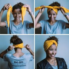 16 ways to combine scarf when using Afro H .- 16 Möglichkeiten vereinen Schal zu verwenden wenn Sie Afro Haare nach sich ziehen oder sehr 16 ways to combine scarf if you pull afro hair or very have - Hair Scarf Styles, Curly Hair Styles, Natural Hair Styles, Hair Scarf Wraps, Scarf In Hair, Hair Turban, Bandana Styles, Diy Hair Wrap Scarf, Hair Headband Styles