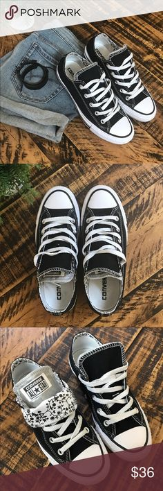 Converse All-Star Unisex Chuck Taylors Black and white converse with double tongue. Worn two✌️times. Super cute and super versatile!! Shoes Sneakers