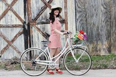 So excited for spring! Biking, fresh flowers and cute stripes!