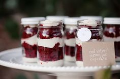 Red Velvet Mason Jar Cupcakes! We'll take three ;) Photography: BrittRene Photo / Desserts: The Sunday Sweet