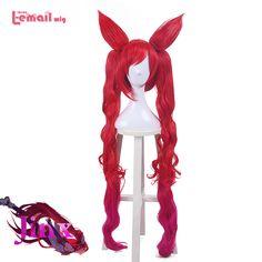 L-メールかつら2016新しい到着ゲームlolスターガーディアン魔法女の子ジンクスロング混合赤い色人工毛ウィッグコスプレかつら