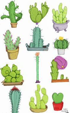 Idea Of Making Plant Pots At Home // Flower Pots From Cement Marbles // Home Decoration Ideas – Top Soop Cactus Drawing, Cactus Art, Succulent Drawings, Cacti And Succulents, Cactus Plants, Kaktus Illustration, Doodles Kawaii, Doodles Bonitos, Painting & Drawing