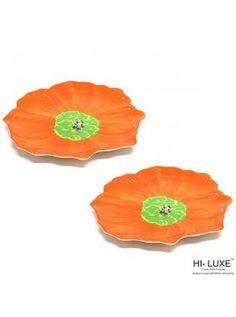 Buy Hi Luxe Flower Snack Plate Big Set Of 2 Pcs, Orange-00292D online at happyroar.com
