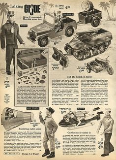 G.I. Joes in Montgomery Ward Christmas Catalog, 1968, by Wishbook, via Flickr.  I had the Jeep & trailer & space capsule shown here.