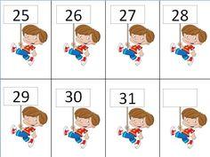 Ημερολόγιο για το νηπιαγωγείο με θέμα τα παιδιά-αριθμοί Math Numbers, Classroom, Kids Rugs, School, Cards, Class Room, Kid Friendly Rugs, Nursery Rugs