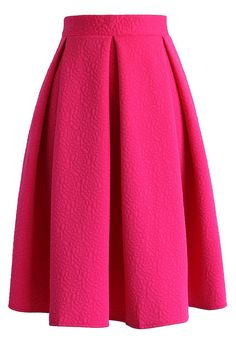 Reminisce From Rose Embossed Midi Skirt in Hot Pink - Retro, Indie and Unique Fashion