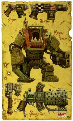 Bad Moon Ork Weapons and Armour designs. Character Concept, Concept Art, Character Design, Ork Warboss, Fantasy Art Angels, Orks 40k, Warhammer 40k Art, Space Wolves, Game Workshop