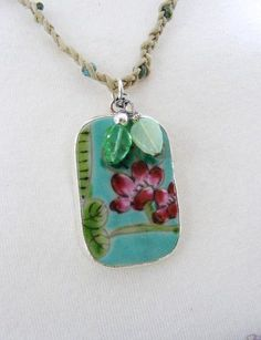 Chinese Pottery Shard Pendant Leaves and Flowers on Woven Blonde Cord