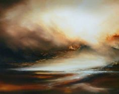 "Large Canvas Abstract Oil Painting by Artist Simon Kenny "" Aftermath"""