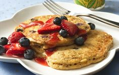 Fibre 1* Blueberry-Bran Pancakes Recipe: What's more inviting than hot-off-the-grill pancakes? These have extra goodies of buttermilk, bran and berries!