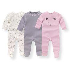 Pijama de algodón estampado 0 meses - 3 años (lote de 3)