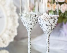 black white Wedding glasses from the collection LACE by DiAmoreDS
