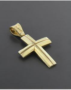 Σταυρός βαπτιστικός χρυσός K14 Gold Jewelry, Jewellery, Crosses, Artisan Jewelry, Wedding Cake, Medieval, Pendants, My Style, Soldering