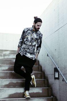 Get this look: http://lb.nu/look/8697371  More looks by Maik: http://lb.nu/maik_kaiser  Items in this look:  Noetia Shirt, Noetia Pants, Adidas Sneaker, Marmol Harness   #chic #elegant #street #ootd #malefashion #fashiontrend #malemodel #editorial #blackwhite