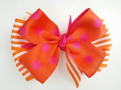 White pink and orange hair bow, bright color ribbon bow, Easter hair bow, polka dot stripe Easter bow, 5 inch layered bow, girls hair bow by BurstingCocoonStudio on Etsy https://www.etsy.com/listing/225963645/white-pink-and-orange-hair-bow-bright