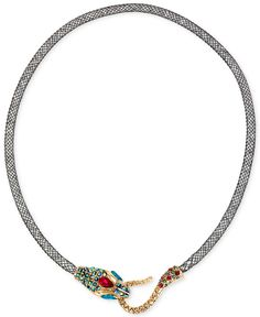 Betsey Johnson Gold-Tone Mesh Crystal Snake Collar Necklace - Jewelry & Watches - Macy's