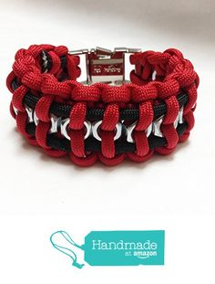 Paracord survival bracelet ~ red / black ~ hex nuts ~ UGA colors from Grey Llama…