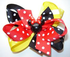 Medium Miss Mouse Triple Loop Twisted Boutique Bow by bowtowne, $7.95