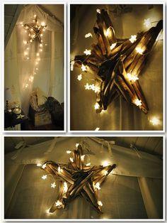 dekoracja gwiazdka ze swiatełkami Chandelier, Ceiling Lights, Lighting, Diy, Home Decor, Candelabra, Decoration Home, Bricolage, Room Decor
