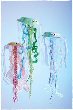 Paper plate jellyfish. We'd do these in various shades of blue.