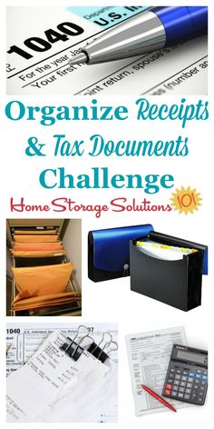 How to organize taxes and receipts, with step by step instructions part of the 52 Week Organized Home Challenge on Home Storage Solutions 101 Receipt Organization, Do It Yourself Organization, Office Organization At Work, Clutter Organization, Home Organization Hacks, Paper Organization, Financial Organization, Organizing Tips, Organizing Paperwork