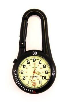 Taschenuhr mit Karabiner und Zifferblatt mit Leuchtmasse, ideal f�r �rzte, Krankenschwestern und Rettungsassistenten, Batterie extra, Schwarz