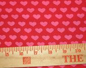 Cute Euro Style Hot Pink Hearts on Red Cotton Lycra Knit FAbric