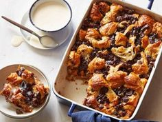 Chocolate Croissant Bread Pudding with Bourbon Ice Cream Sauce Recipe | Michael Chiarello | Food Network