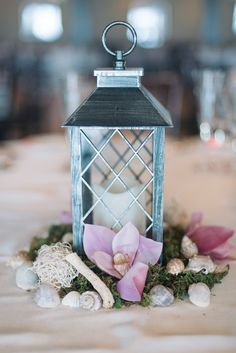 Seashell, orchid, lantern centrepieces - Palais Royale | Olive Photography | www.olivephotography.ca | Toronto & GTA wedding photographer