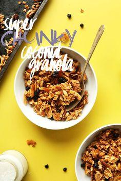 SUPER CHUNKY Coconut Granola! Naturally sweetened, butter free and SO delicious! #vegan #glutenfree #granola #breakfast #recipe