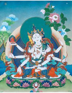 Vijaya Thangka @ NORBULINGKA www.norbulingkashop.com Buddhism Symbols, Vajrayana Buddhism, Spiritual Images, Thangka Painting, Tibetan Art, Buddha Art, Deities, Illustration Art, Green Tara