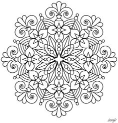 How fun would this be to embroider Mandala Doodle, Mandala Dots, Mandala Pattern, Mandala Coloring Pages, Coloring Book Pages, Coloring Sheets, Mandala Painting, Dot Painting, Colouring Pics