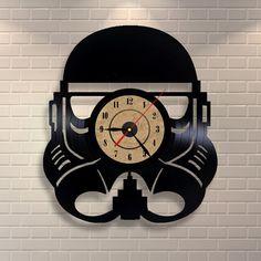 Stormtrooper art vinyl wall record clock by Vinylastico on Etsy