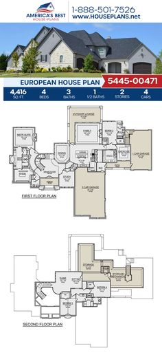 If you love the European style, Plan 5445-00471 details 4,416 sq. ft., 4 bedrooms, 3.5 bathrooms, split bedrooms, a kitchen island, an open floor plan, an exercise room, a media room, a mudroom, a sitting room, and a study. #architecture #houseplans #housedesign #homedesign #homedesigns #architecturalplans #newconstruction #floorplans #dreamhome #dreamhouseplans #abhouseplans #besthouseplans #newhome #newhouse #homesweethome #buildingahome #buildahome #residentialplans #residentialhome European Plan, European House Plans, Best House Plans, Dream House Plans, European Style, Floor Plan Drawing, Cost To Build, Study Architecture, Build Your Dream Home