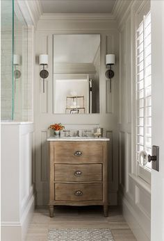 small bathroom using a dresser as vanity. Verandah House
