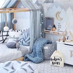 Is this not the most magical room? So many beautiful goodies compiled into one a. ♡ Is this not the most magical room? So many beautiful goodies compiled into one amazing room! I spy our gorgeous little wooden rabbit by Oyoy sitting p. Baby Bedroom, Baby Boy Rooms, Bedroom Decor, Baby Boy Bedroom Ideas, Bedroom Furniture, Bedroom Lighting, Rooms For Teenage Girl, Girls Bedroom Blue, Baby Room Decor For Boys